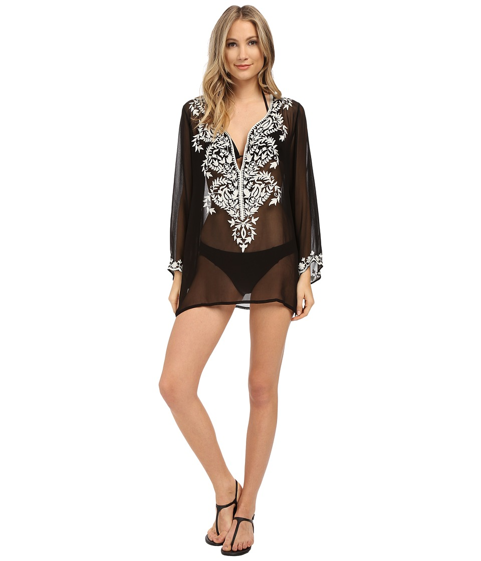 Athena Cabana Solids Tunic w &  Embroidery Cover-Up Black & White Swimwear