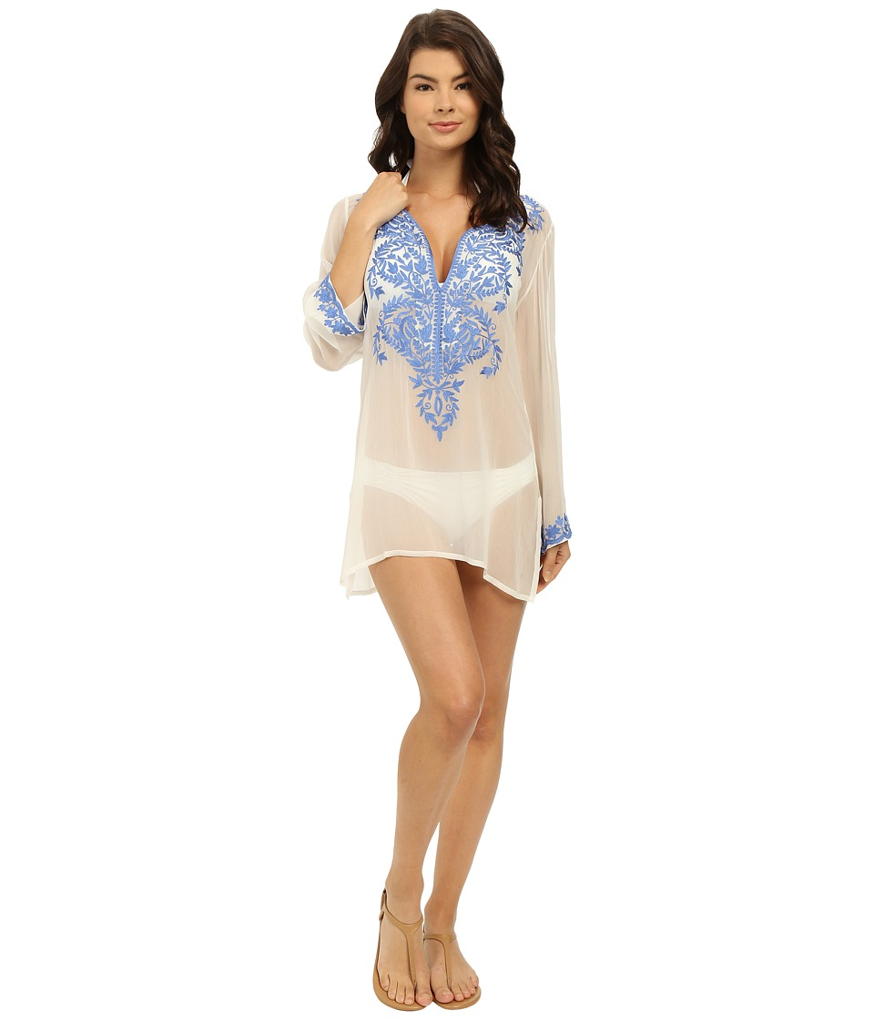 Athena Cabana Solids Tunic w/ Embroidery Cover-Up (White/Blue) Women