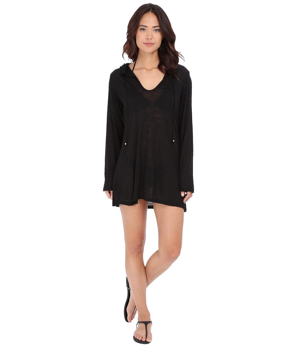 Athena - Cabana Solids Hooded Tunic Cover-Up (Black) Women's Swimwear