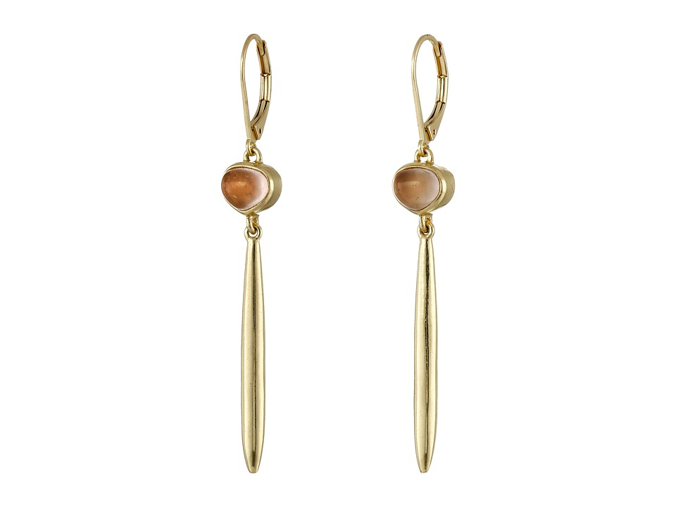 Cole Haan - Linear Stone Drop Earrings (Gold/Rose Quartz) Earring