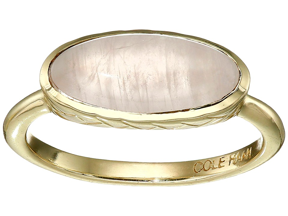 Cole Haan - Basket Weave Oval Semi Precious Ring (Gold/Rose Quartz) Ring