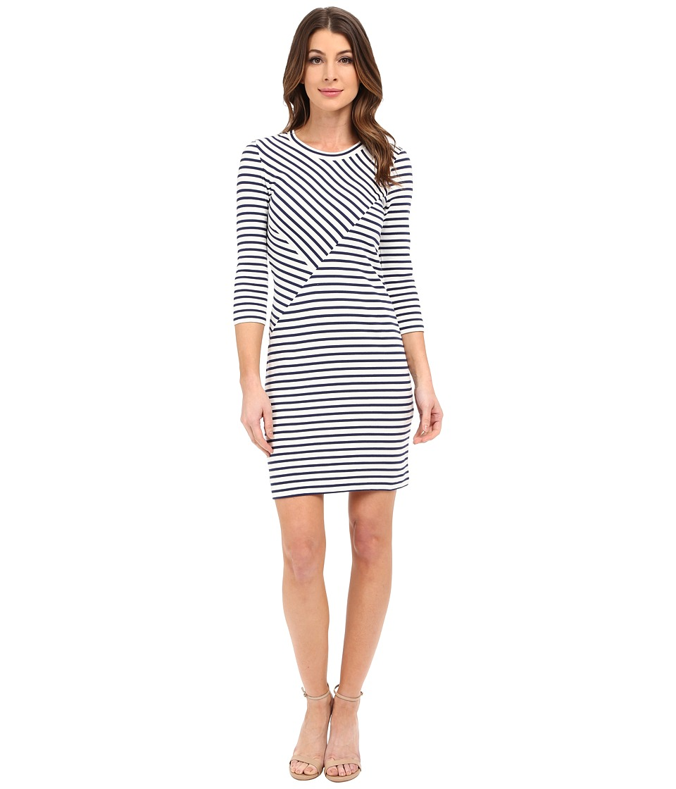 Lacoste - 3/4 Sleeve Stripe Bodycon Dress (Deauville Blue/Cliff) Women