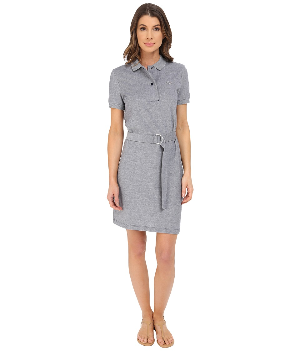 Lacoste - Short Sleeve Caviar Pique Polo Dress (Cliff/Navy Blue) Women's Dress