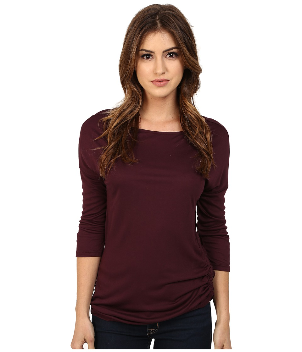 Three Dots - Kylie Long Sleeve Tunic (Vintage Wine) Women's Blouse