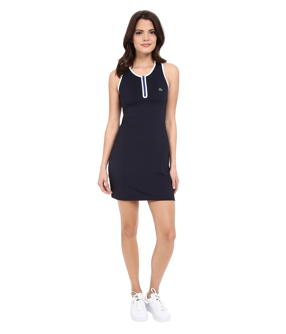 Lacoste - Technical Sleeveless Mesh Back Tank Dress (Navy Blue/White/Royal Blue) Women's Dress