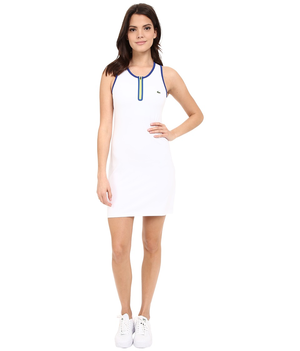 Lacoste - Technical Sleeveless Mesh Back Tank Dress (White/Royal Blue/Fluo Yellow) Women's Dress