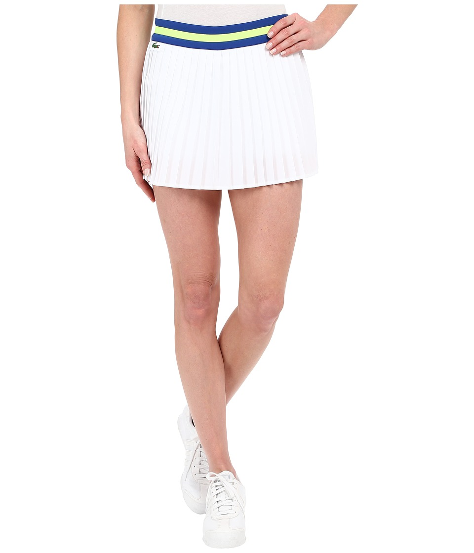 Lacoste - Technical Contrast Waistband Pleated Skirt (White/Royal Blue/Fluo Yellow) Women