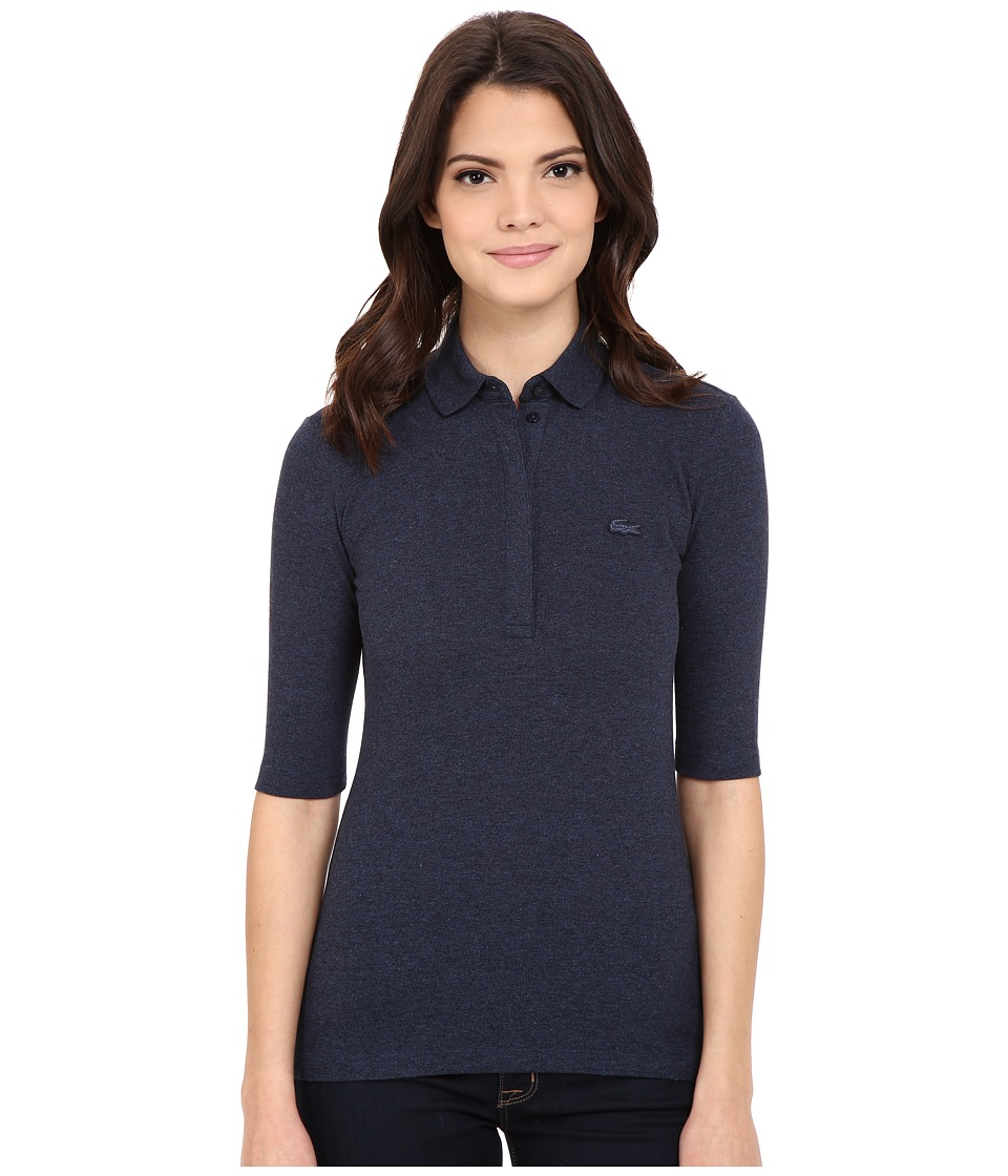 Lacoste - Half Sleeve Slim Fit Stretch Pique Polo Shirt (Dark Indigo Blue) Women's Short Sleeve Knit