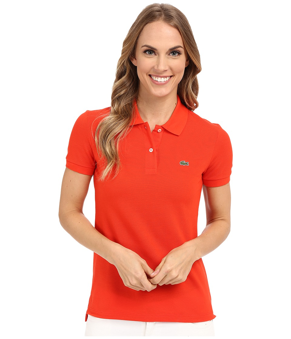 Lacoste - Short Sleeve Classic Fit Pique Polo Shirt (Lust Red) Women's Short Sleeve Knit