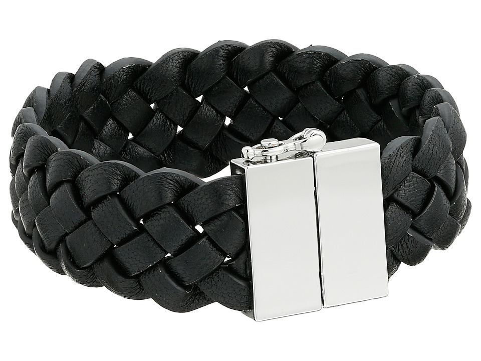 Cole Haan - Braided Leather Bracelet (Light Rhodium/Black) Bracelet