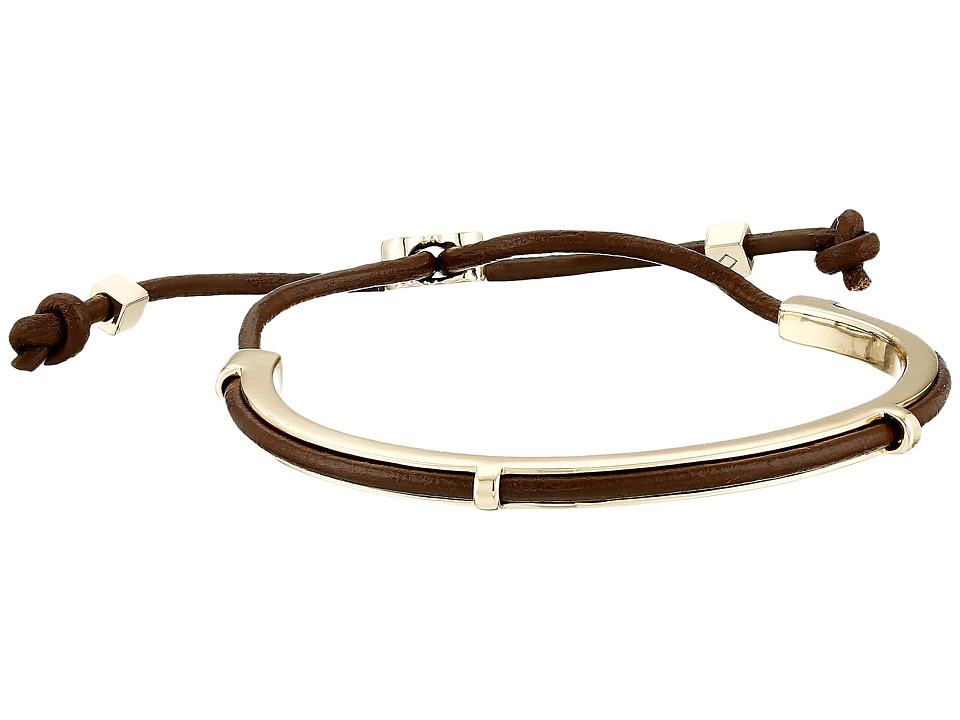 Cole Haan - Leather Inlay Pull Tie Cuff (Gold/Chestnut) Bracelet