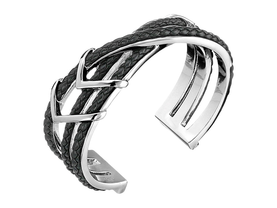 Cole Haan - Chevron Metal Leather Braided Cuff (Silver/Black) Bracelet