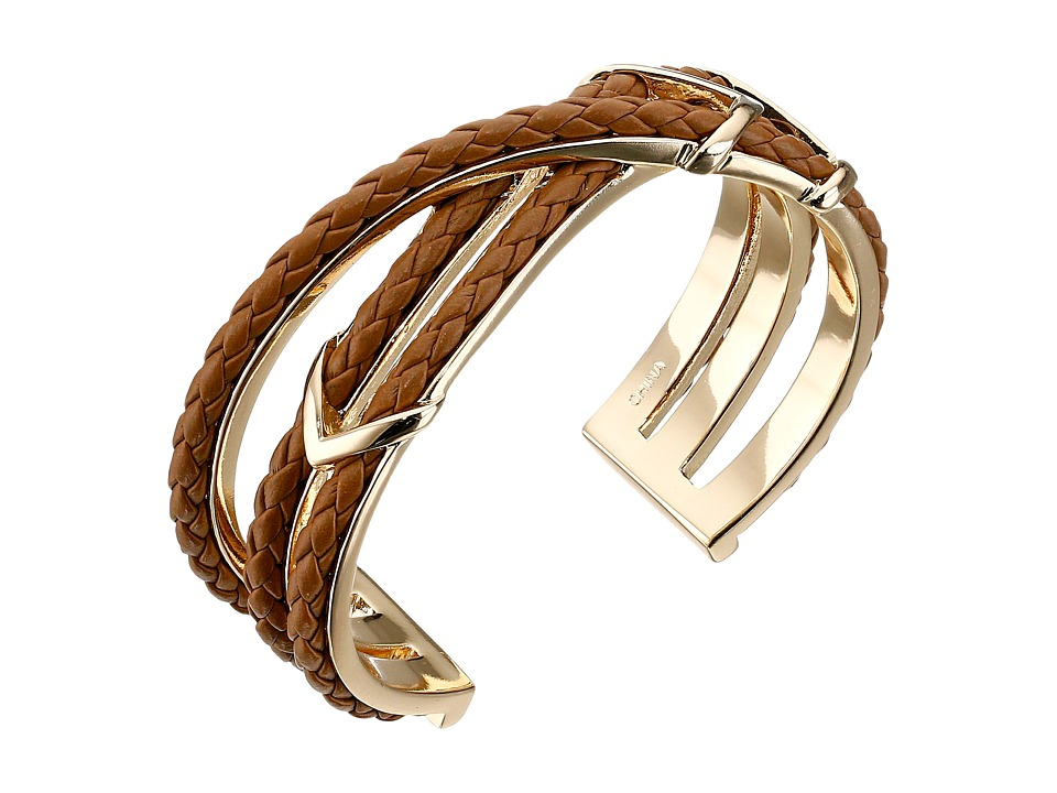 Cole Haan - Chevron Metal Leather Braided Cuff (Gold/Chestnut) Bracelet