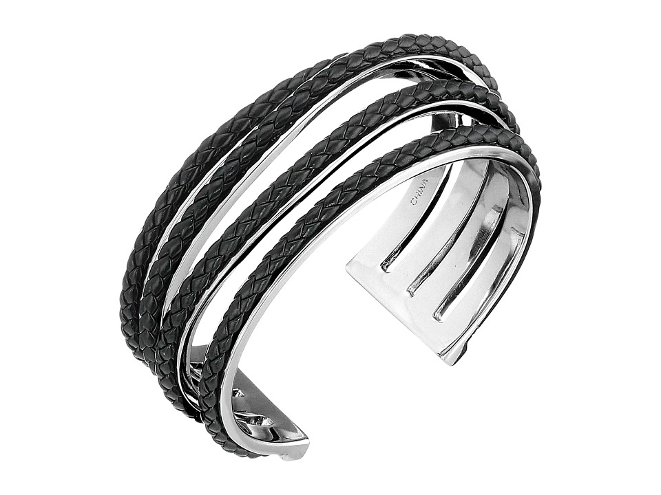 Cole Haan - Leather Inlay Wavy Cuff (Rhodium/Black) Bracelet