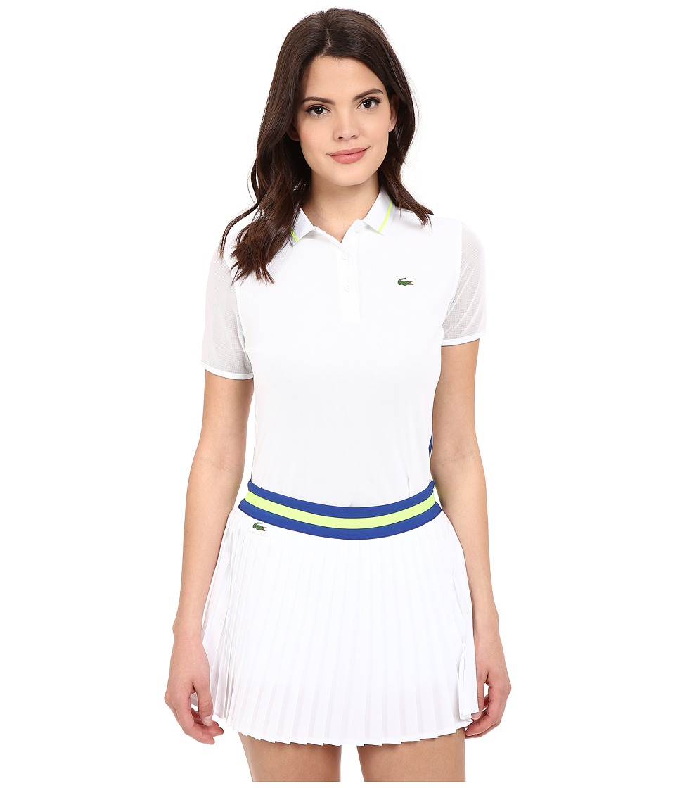 Lacoste - Technical Short Sleeve Mesh Jacquard Collar Polo Shirt (White/Royal Blue/Fluo Yellow) Women's Short Sleeve Pullover