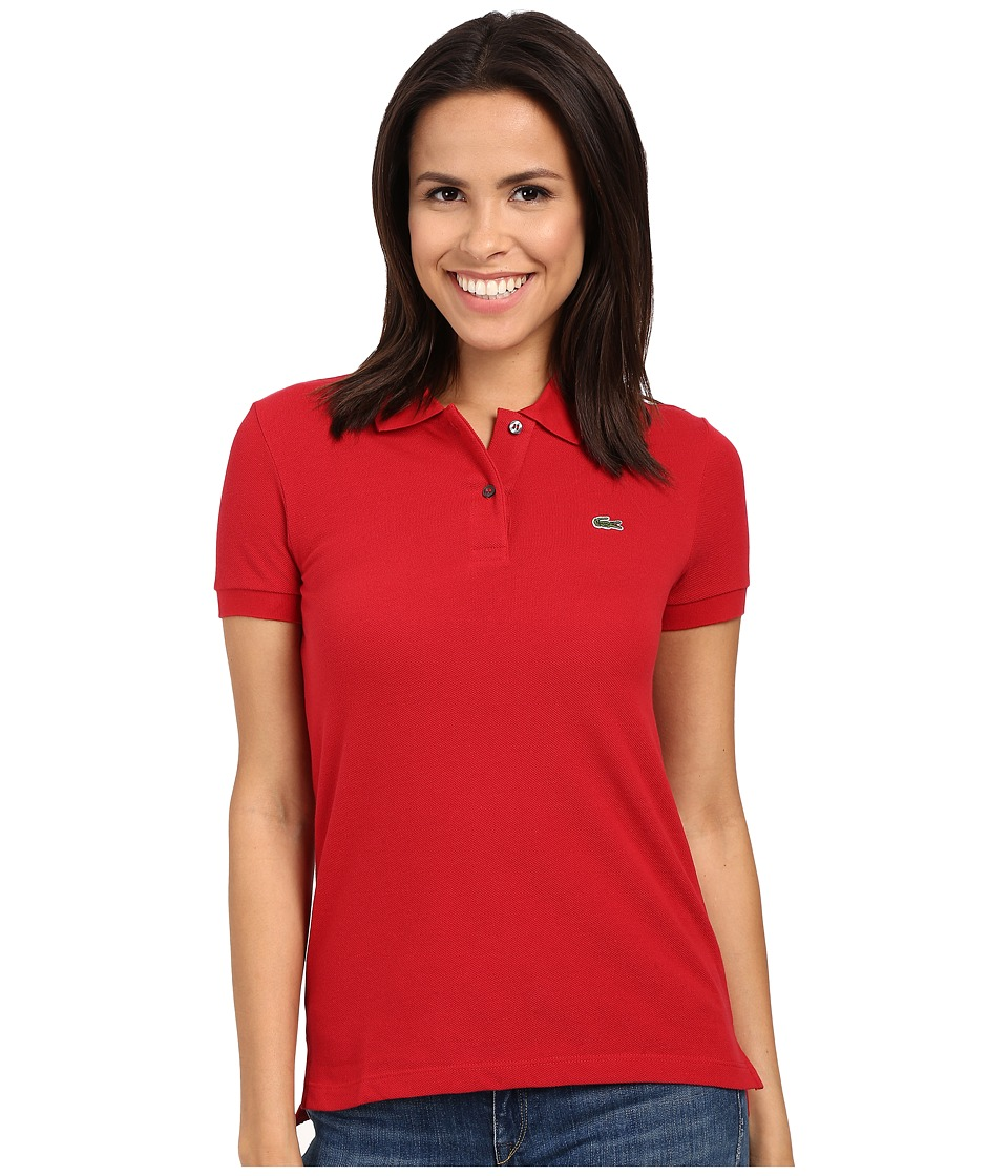 Lacoste - Short Sleeve Classic Fit Pique Polo Shirt (Lighthouse Red) Women's Short Sleeve Knit