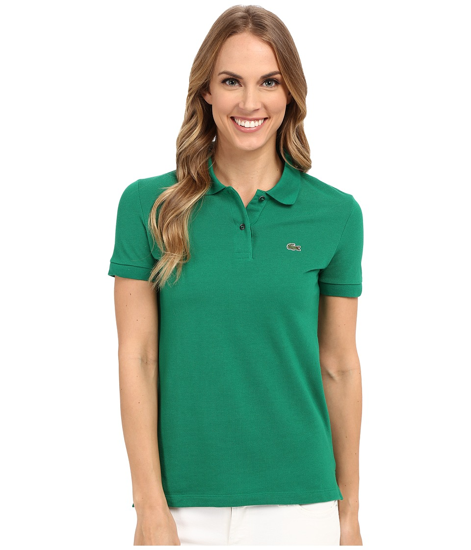 Lacoste - Short Sleeve Classic Fit Pique Polo Shirt (Yucca Green) Women's Short Sleeve Knit