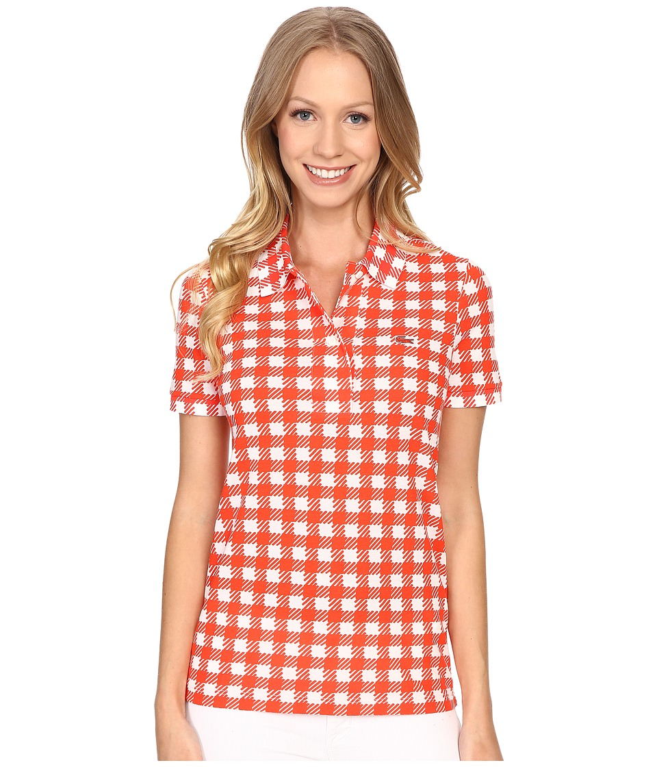 Lacoste - Short Sleeve Gingham Polo (Cliff/Etna Red) Women's Short Sleeve Pullover