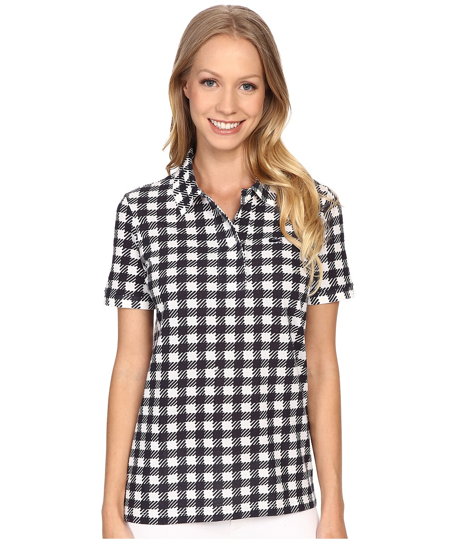 Lacoste - Short Sleeve Gingham Polo (Cliff/Navy Blue) Women's Short Sleeve Pullover