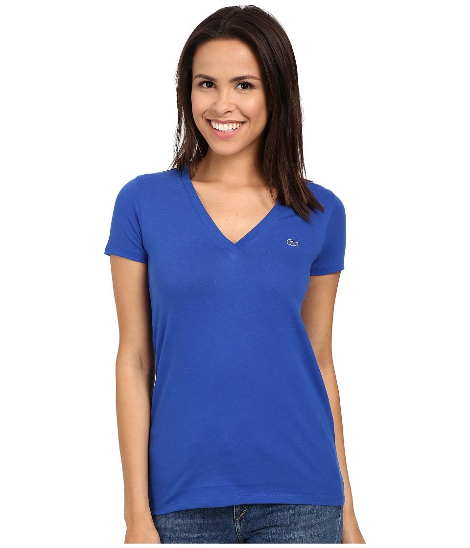 Lacoste - Short Sleeve Cotton Jersey V-Neck Tee Shirt (Delta Blue) Women
