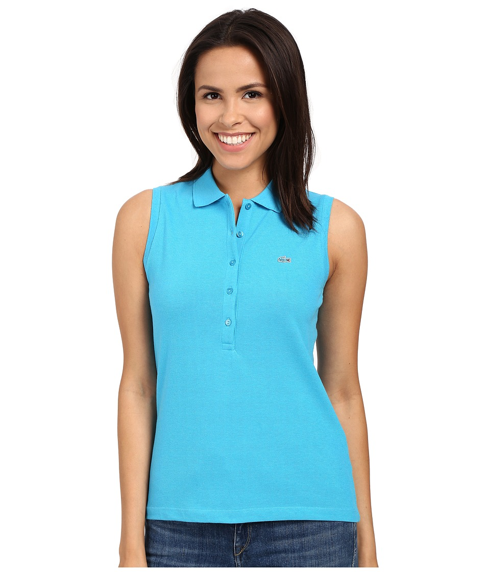 Lacoste - Sleeveless Slim Fit Stretch Pique Polo Shirt (Fidji Blue Chine) Women's Sleeveless