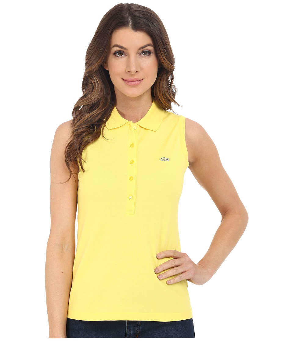 Lacoste - Sleeveless Slim Fit Stretch Pique Polo Shirt (Daphne Yellow) Women's Sleeveless