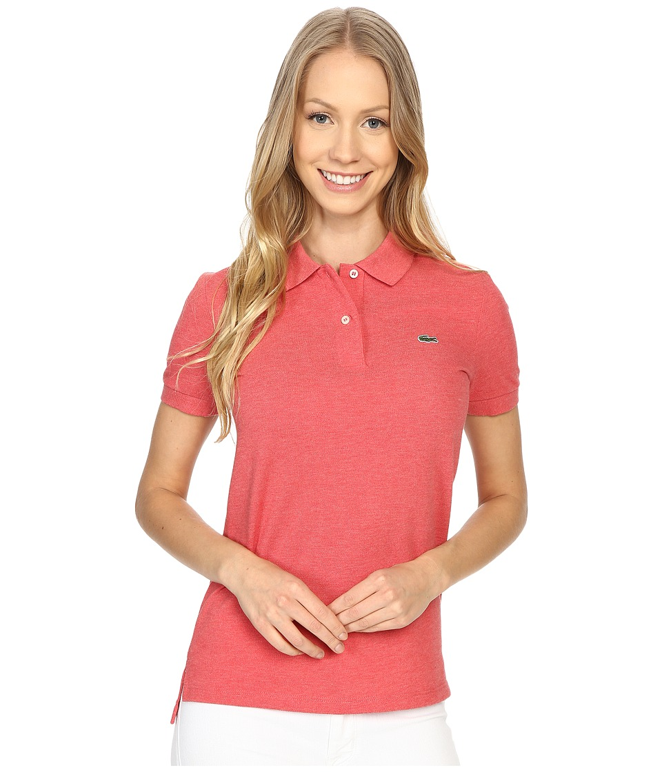 Lacoste - Short Sleeve Classic Fit Pique Polo Shirt (Veil Pink Chine) Women's Short Sleeve Knit