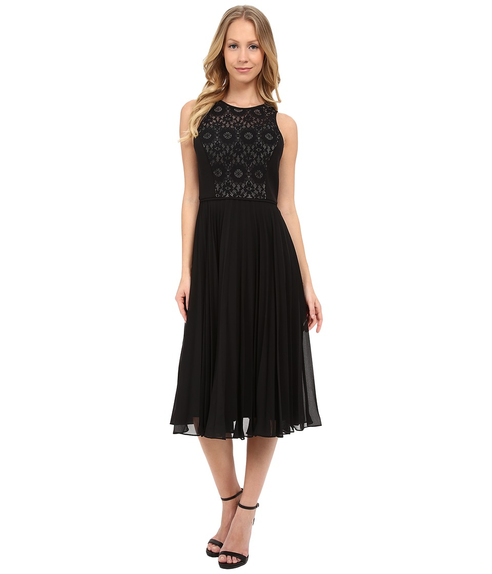 Maggy London - Chiffon Pleated Skirt with Star Flower Lace (Black) Women's Dress