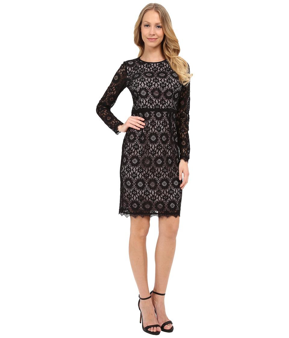Maggy London - Star Flower Lace Sheath (Black) Women's Dress