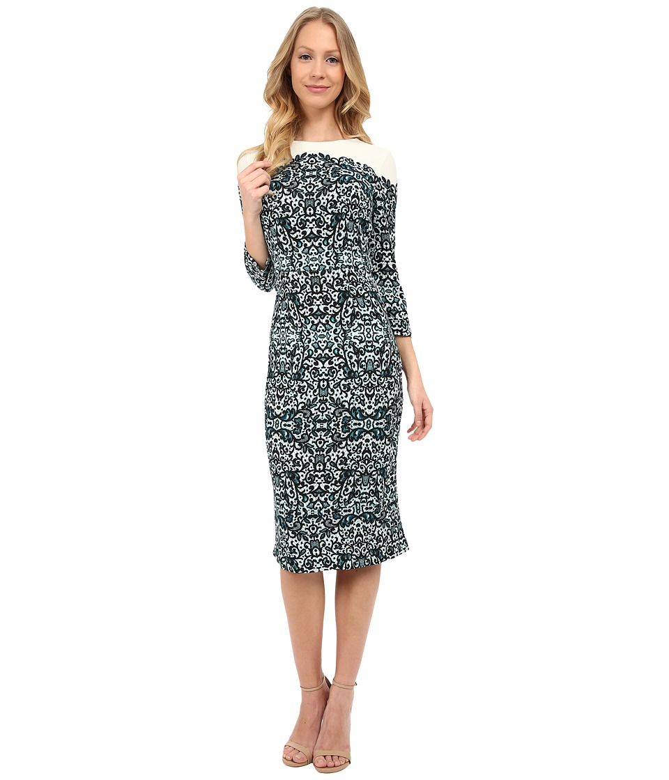 Maggy London - Chantilly Lace Printed Crepe Sheath (Soft White/Teal) Women's Dress