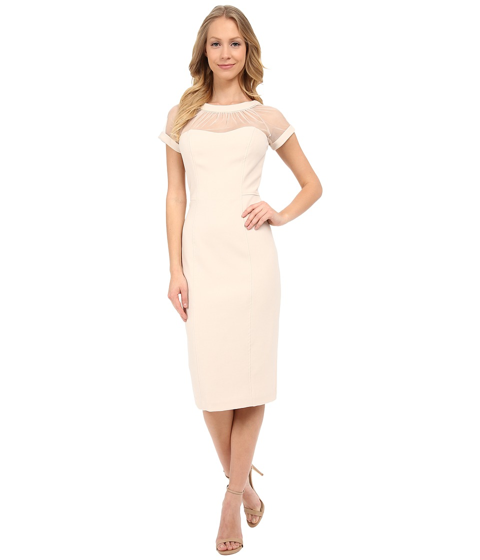 Maggy London - Illusion Top Crepe Dress (Champagne Fizz) Women's Dress