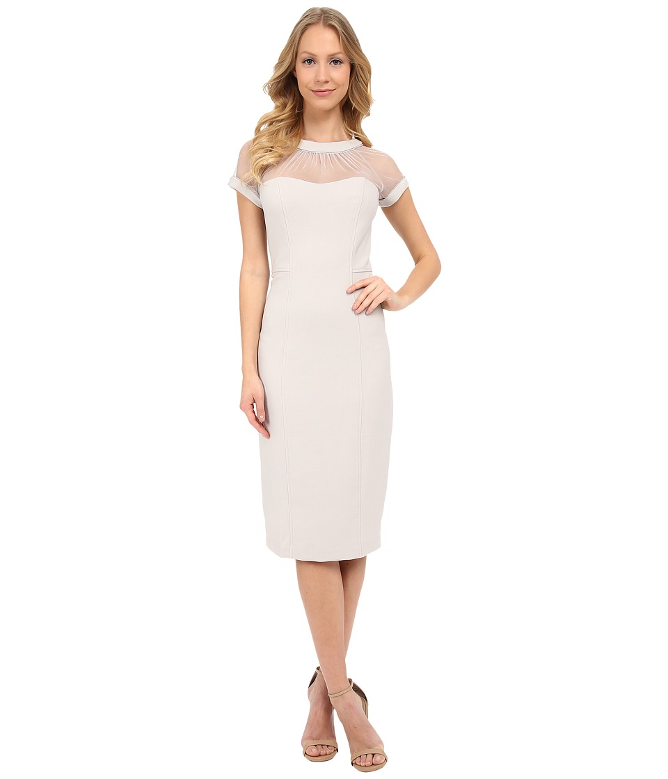 Maggy London - Illusion Top Crepe Dress (Ice Silver) Women's Dress