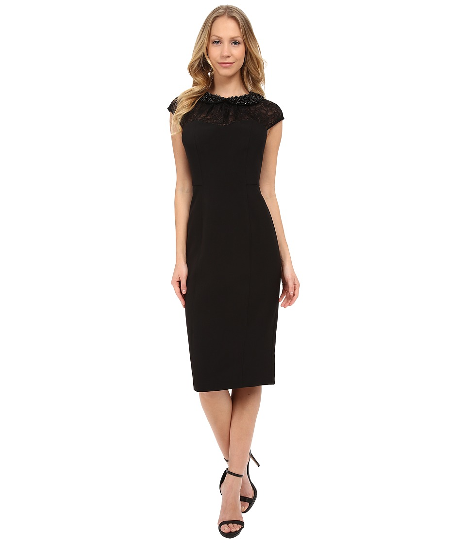 Maggy London - Shimmer Lace Sheath with Beaded Collar (Black) Women's Dress