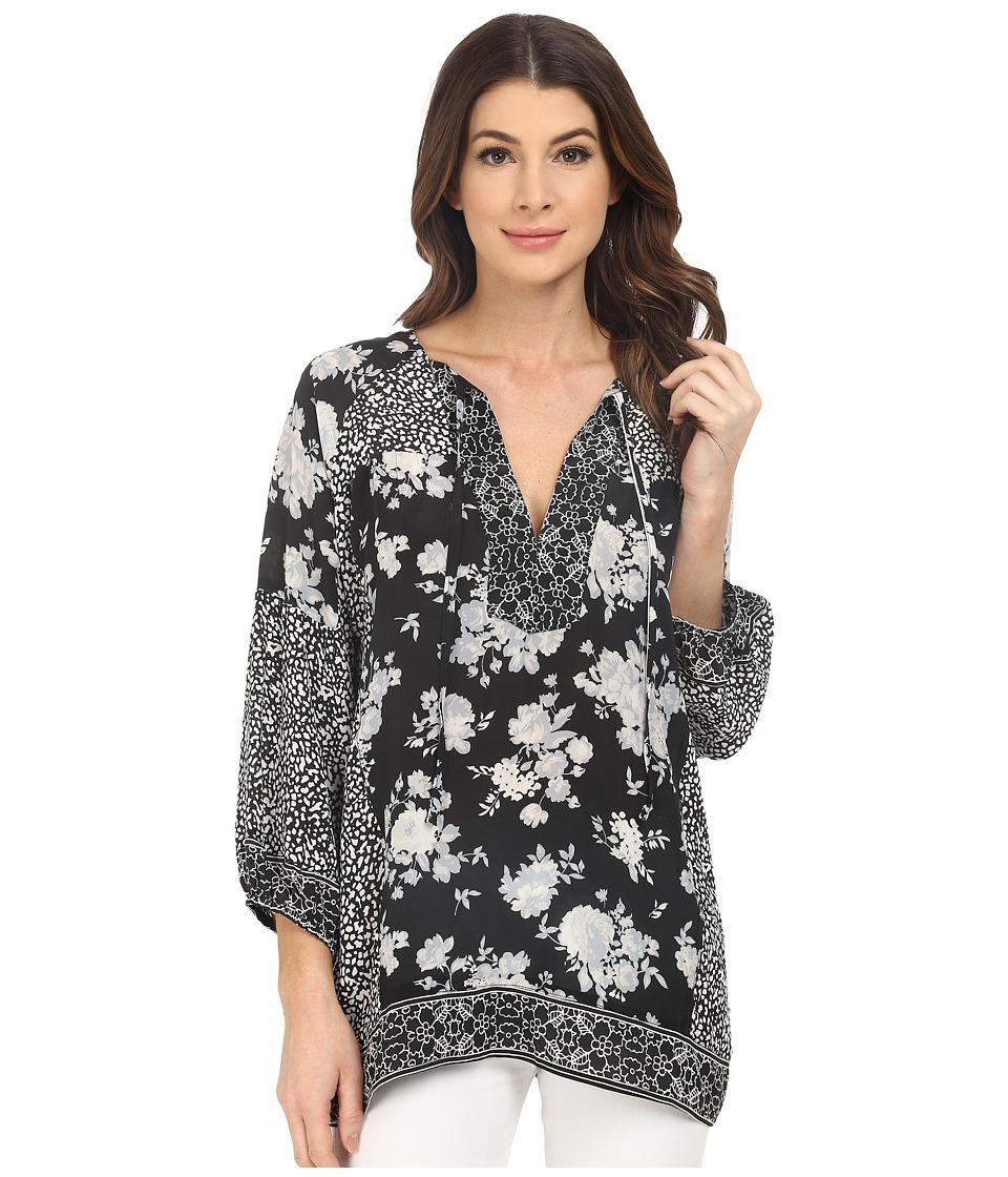 Tolani - Tanya Long Sleeve Blouse (Black Floral) Women's Blouse