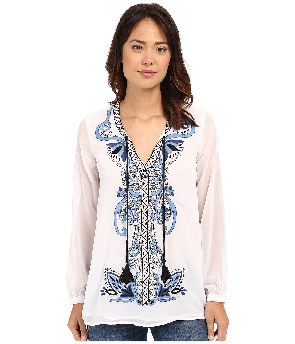 Tolani - Marisol Embroidered Top (White/Blue) Women's Clothing