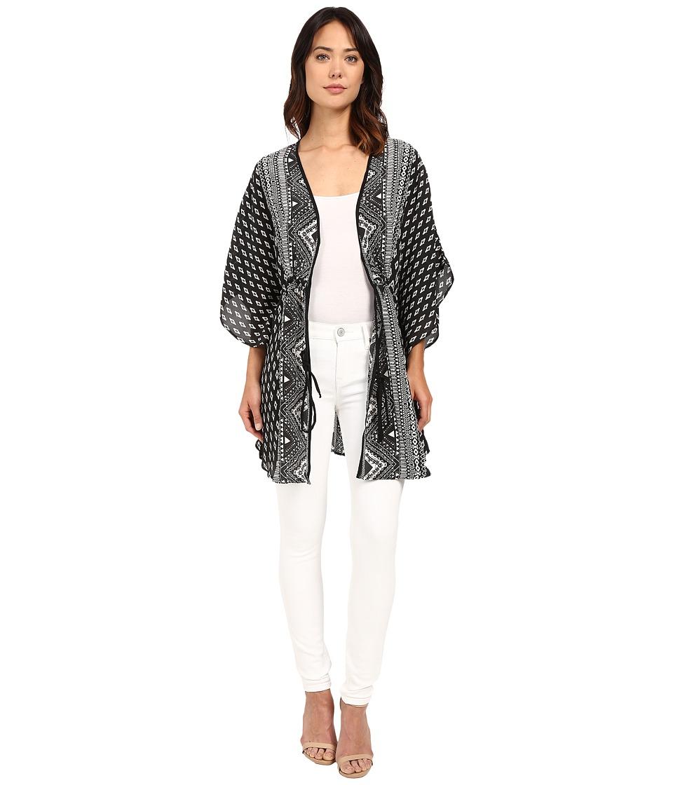 Tolani - Vani Tie Front Kimono (Coal) Women's Blouse