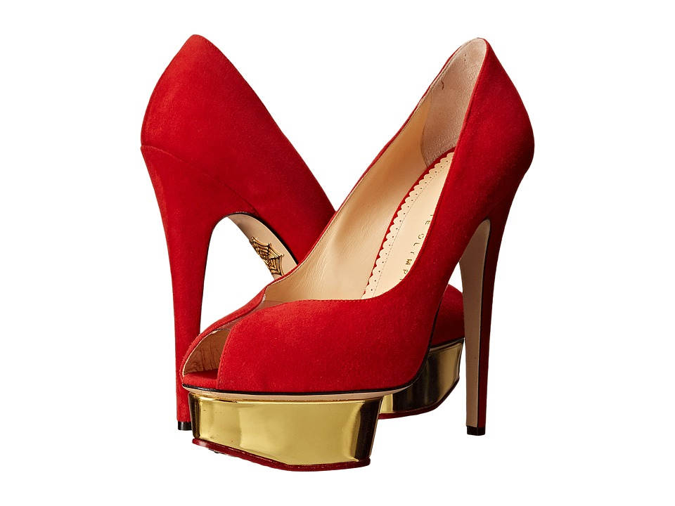 Charlotte Olympia - Daphne Platform (Red Suede/Metallic Calf) High Heels