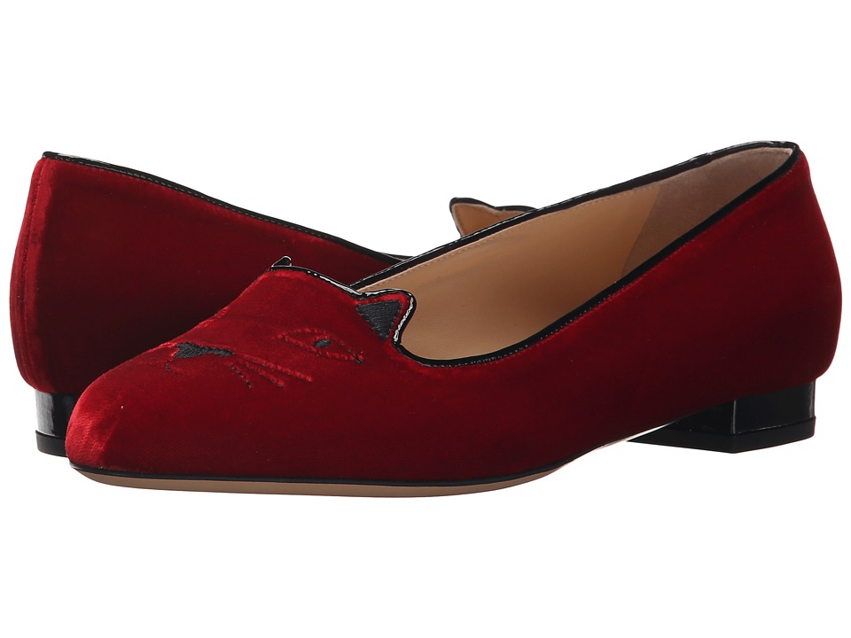 Charlotte Olympia - Kitty Flats (Red/Black Velvet/Patent) Women's Flat Shoes