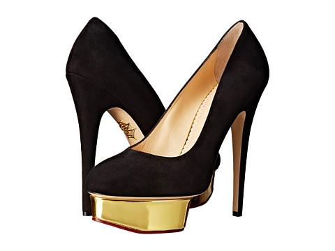 Charlotte Olympia - Dolly (Black/Gold Suede/Metallic Calf) High Heels