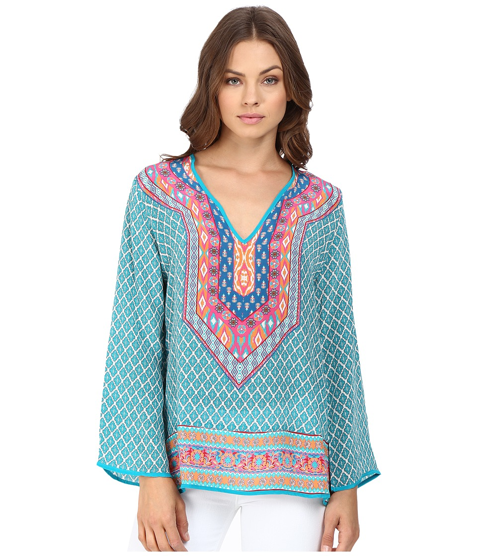 Tolani - Mona Long Sleeve Blouse (Teal) Women's Blouse