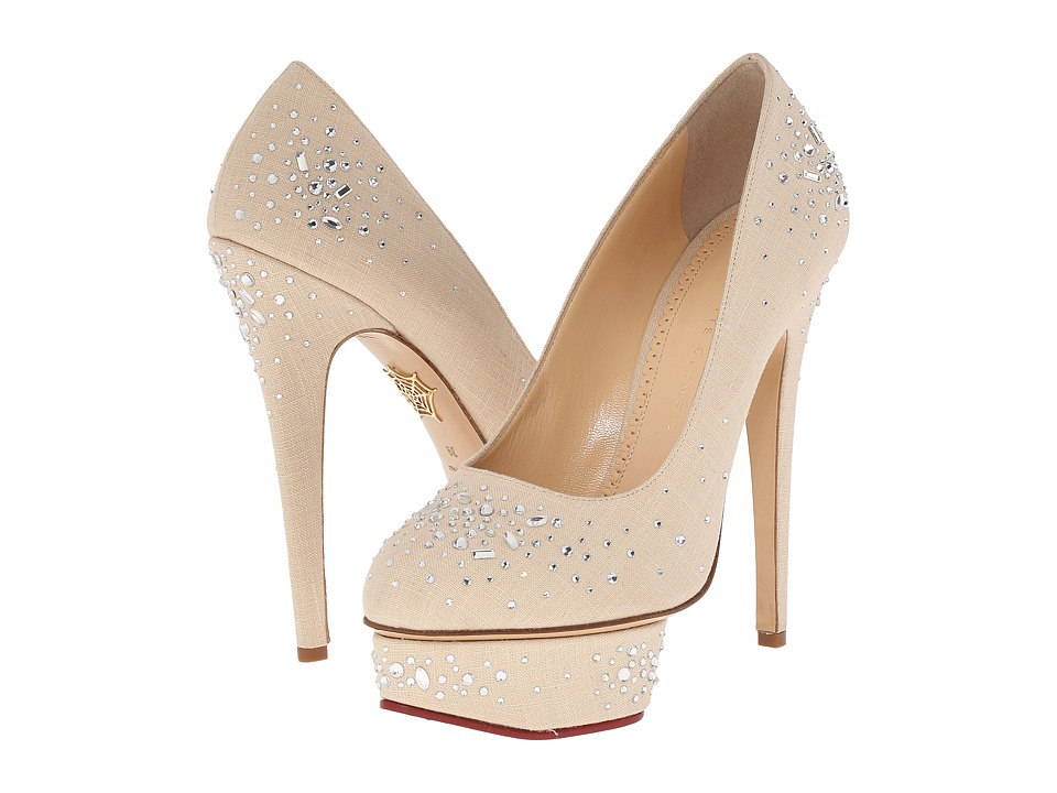 Charlotte Olympia - Bejewelled Dolly (Natural Linen) High Heels