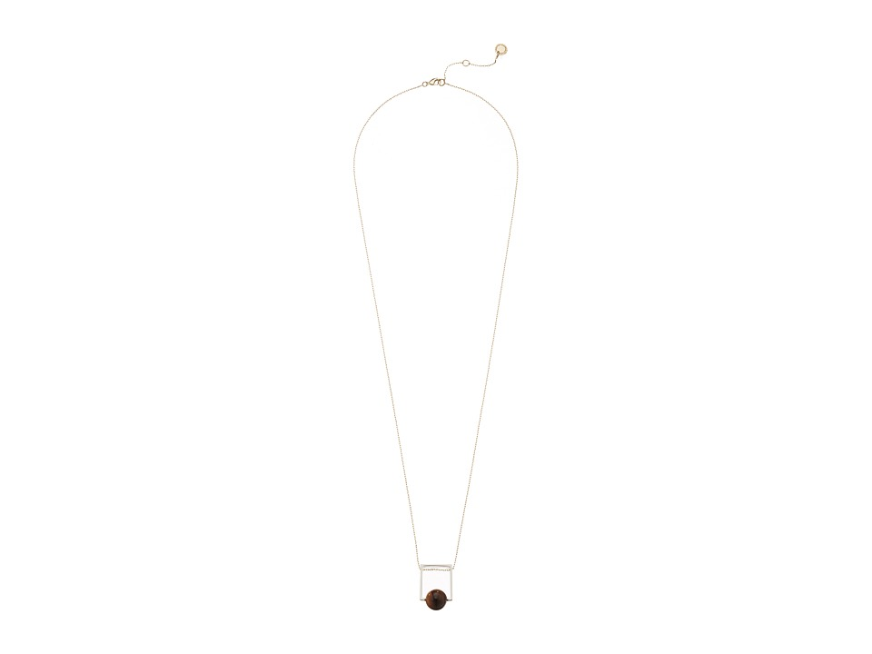 French Connection - Orbital Bead Pendant Necklace (Silver/Gold/Brown) Necklace