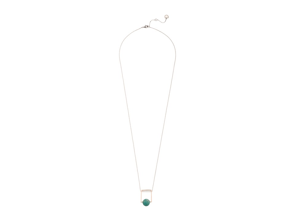 French Connection - Orbital Bead Pendant Necklace (Rose Gold/Silver/Light Green) Necklace
