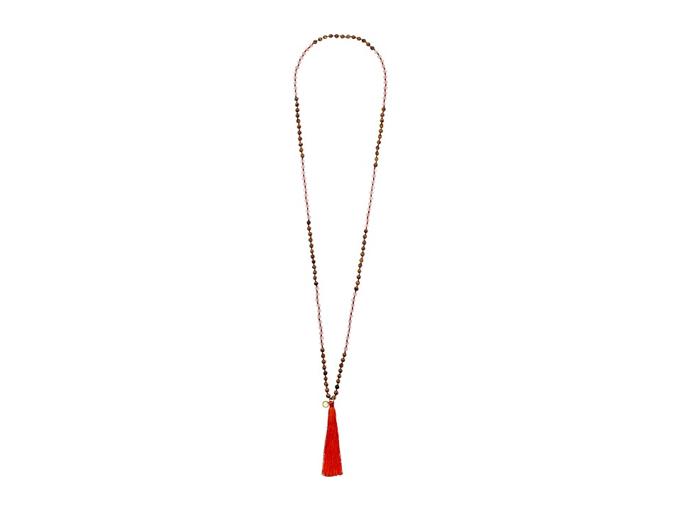 French Connection - Beaded Tassel Pendant Necklace (Orange/Light Pink/Brown) Necklace