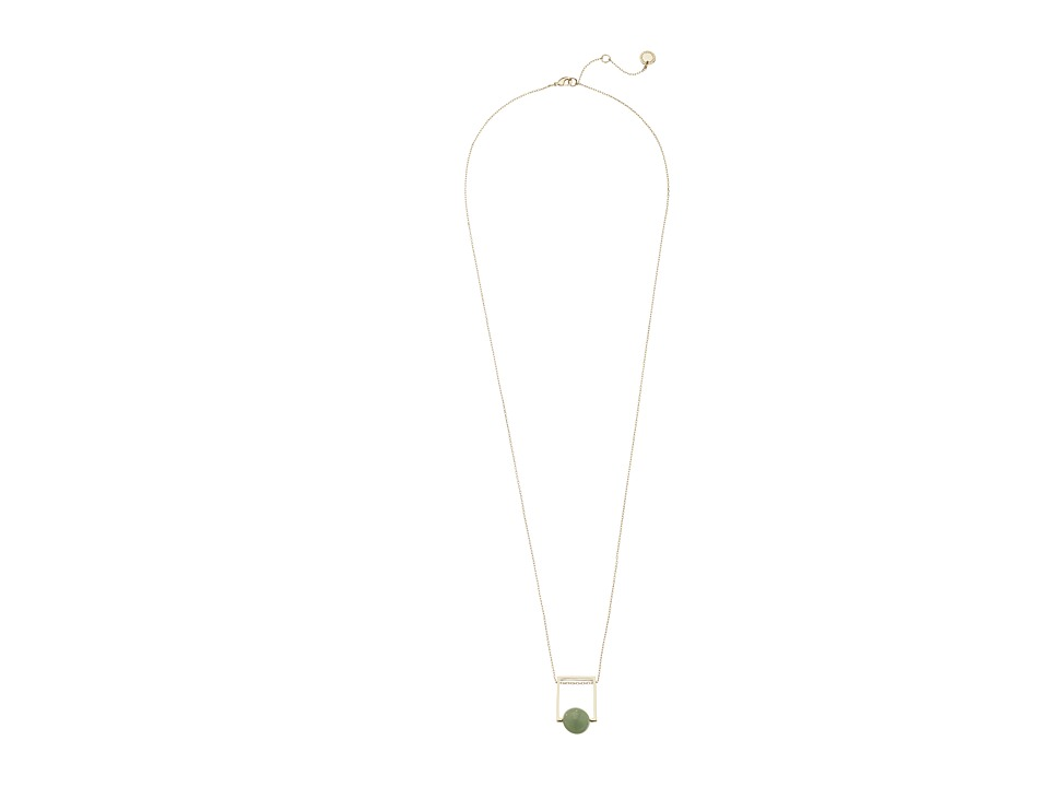 French Connection - Orbital Bead Pendant Necklace (Gold/Light Green) Necklace