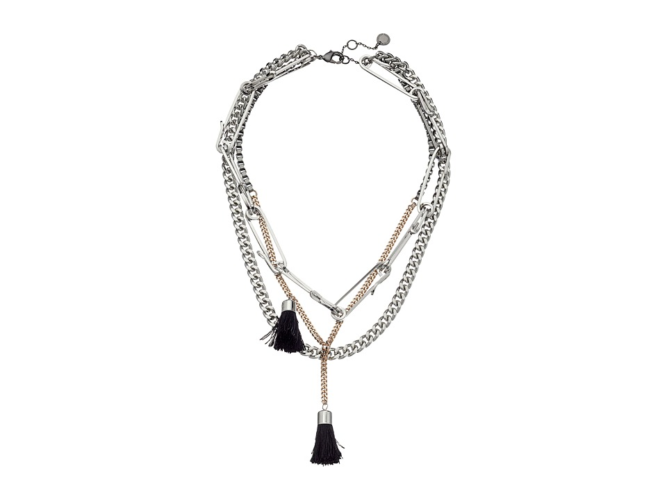 French Connection - Multi Row w/ Tassels Necklace (Hematite/Silver/Rose Gold/Black) Necklace