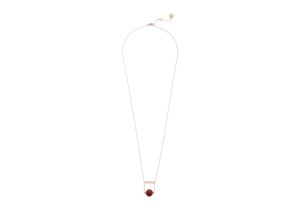French Connection - Orbital Bead Pendant Necklace (Rose Gold/Orange) Necklace