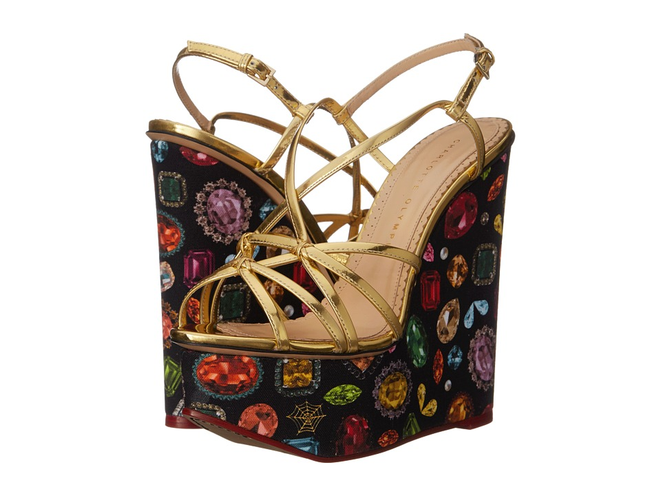 Charlotte Olympia - Elizabeth (Jewel Print/Gold Calf/Canvas) Women's Wedge Shoes