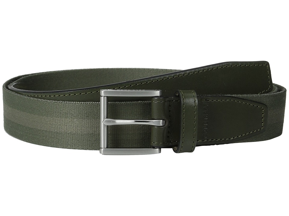 Cole Haan - 35mm Webbing Belt with Leather Tabs and Loop (Fatigue/Bungee Cord) Men's Belts
