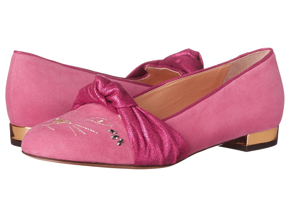 Charlotte Olympia - Eccentric Kitty (Cocktail Pink Suede) Women's Flat Shoes
